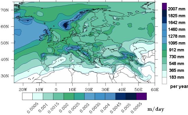 Snow Map Europe.Precipitation Map